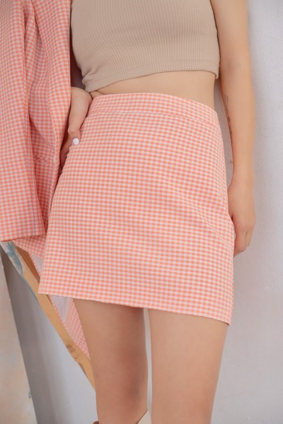 Gingham Mini  Skirt - Pink