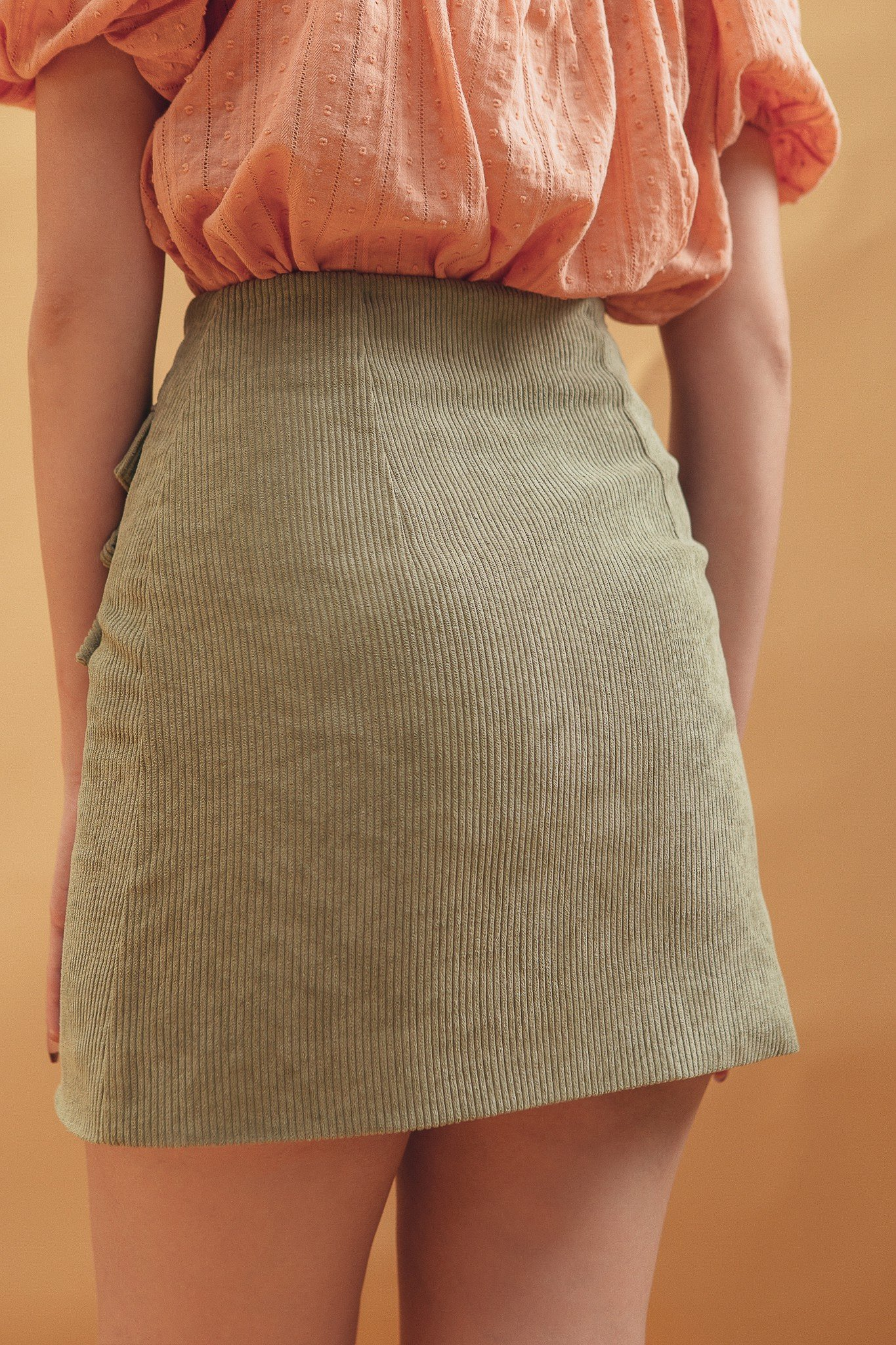 Olive Corduroy Mini Skirt