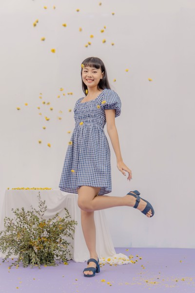 Checked Smocking Mini Dress