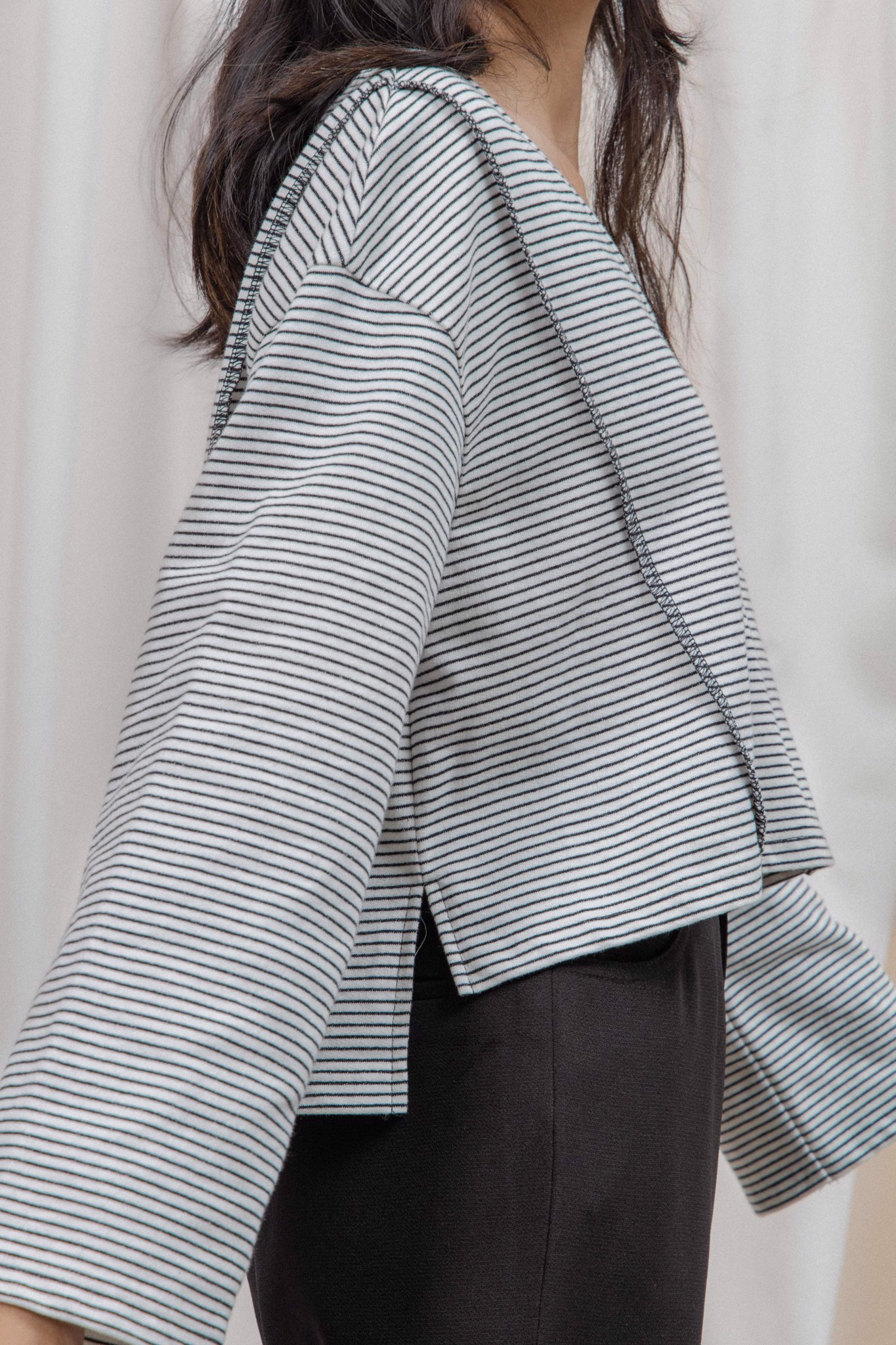 Striped Long Sleeve Oversized Top