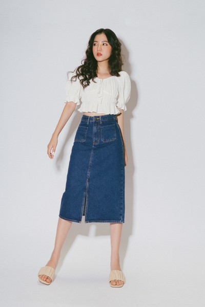 Denim Midi Skirt- Navy