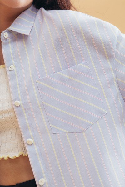 Light Blue Striped Oversized Shirt