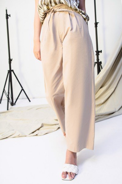 Wide Leg Trousers - Light Brown