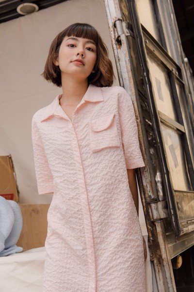 Seersucker Shirt Dress - Pink
