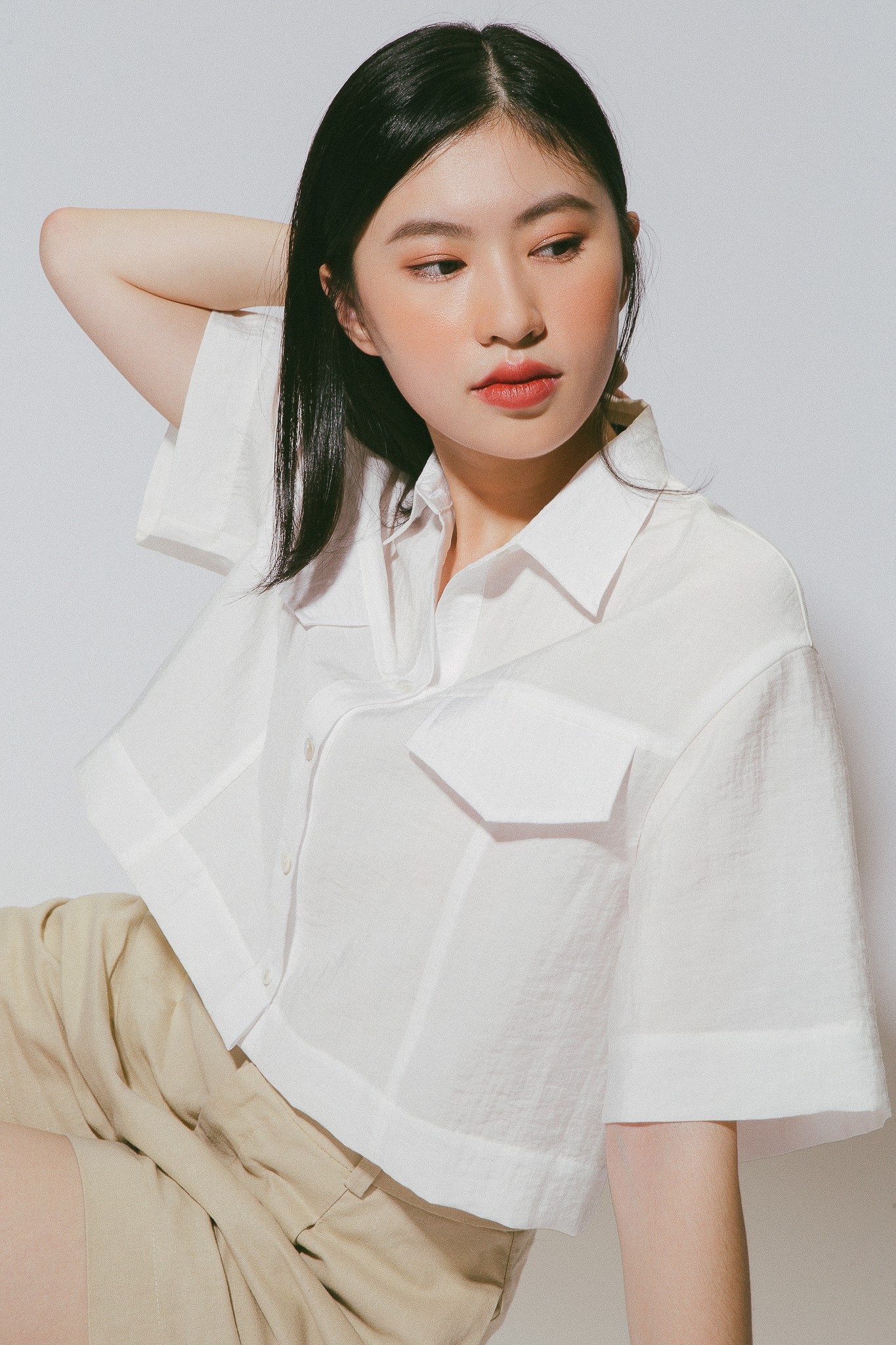 White Cropped Shirt