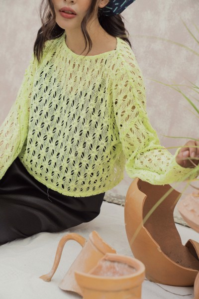 Lime Lace Top