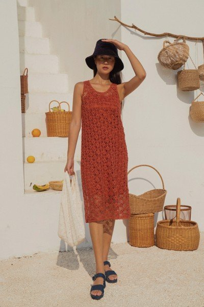 Brick Red Crochet Midi Dress