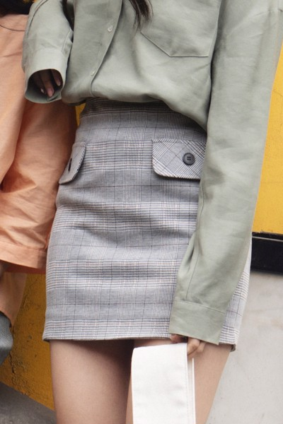 Gray Checked Skirt