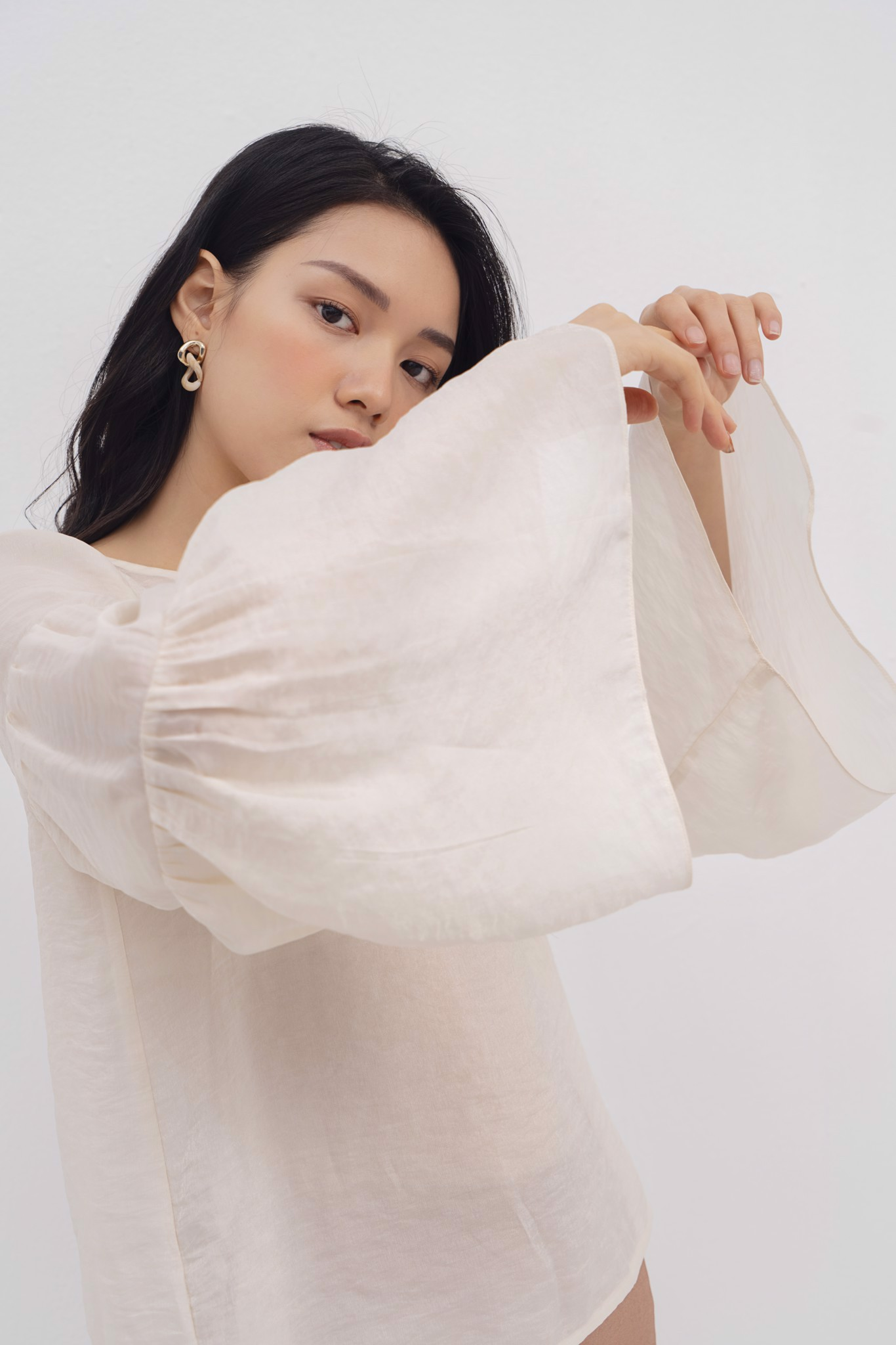 Organza Flared-Sleeve  Top