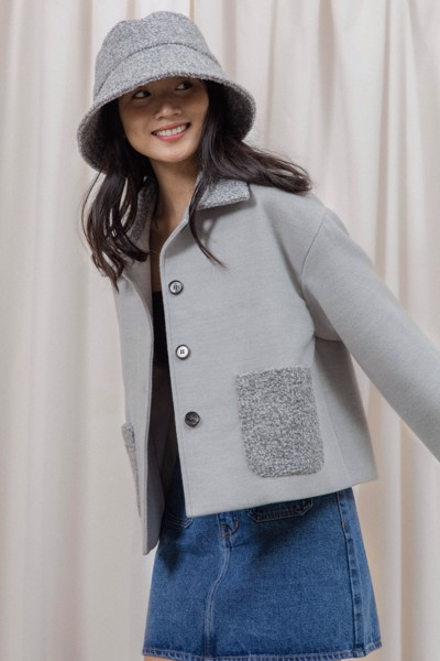 Grey Jacket With Faux Fur Pockets