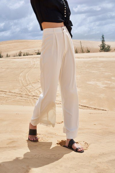 White Darted Wide Leg Trousers