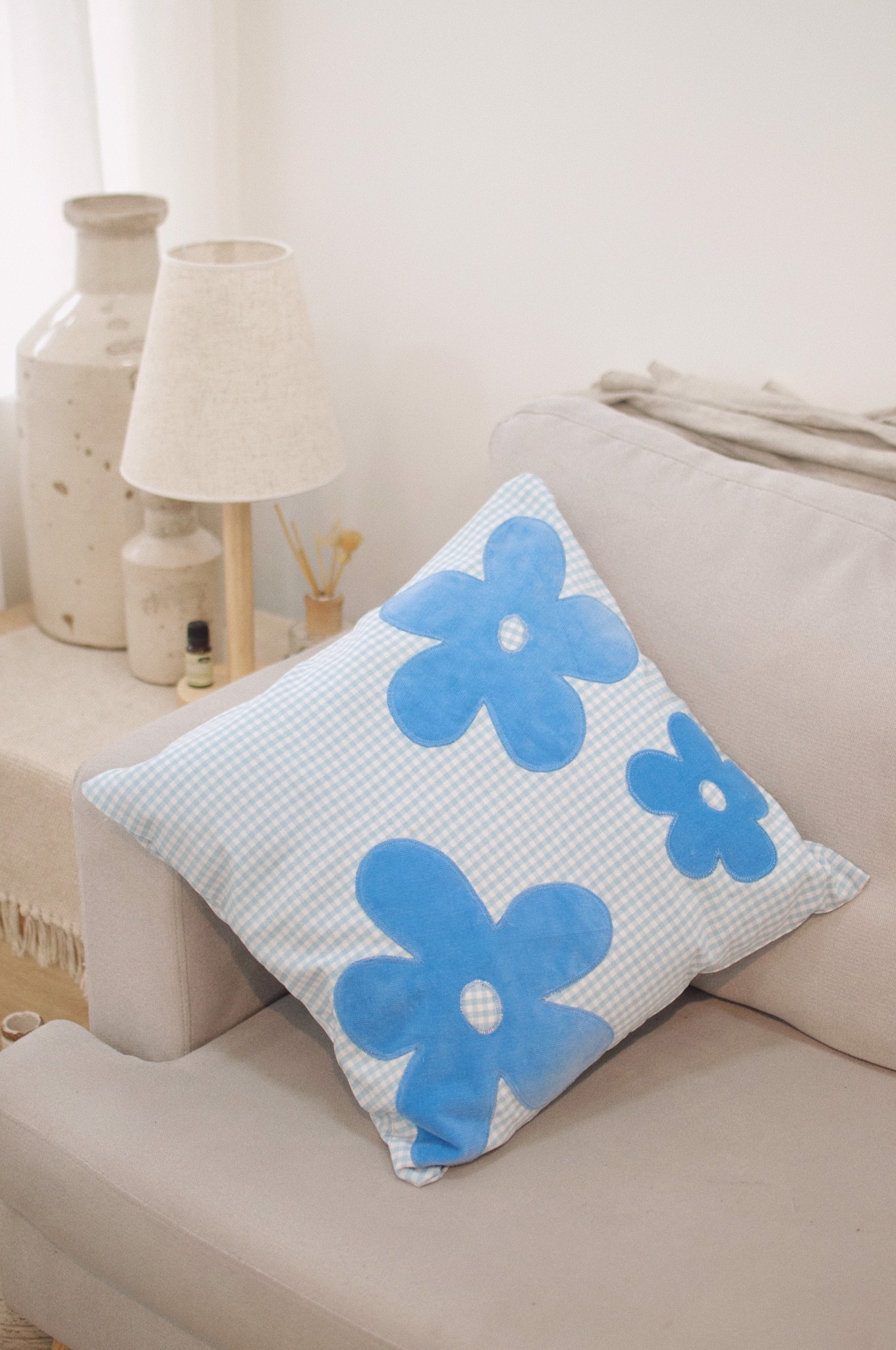 Gingham Throw Pillow With Flowers - Blue