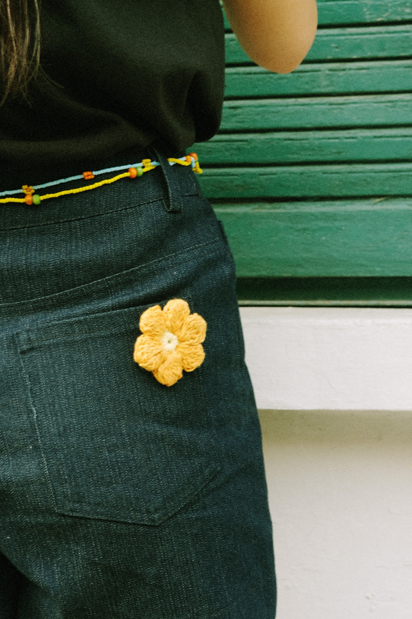 Denim Shorts With Removable Flower Pins