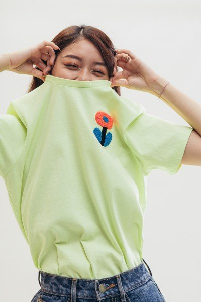 Embroidered T-shirt - Green