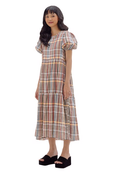 Checked Puff Sleeves Midi Dress