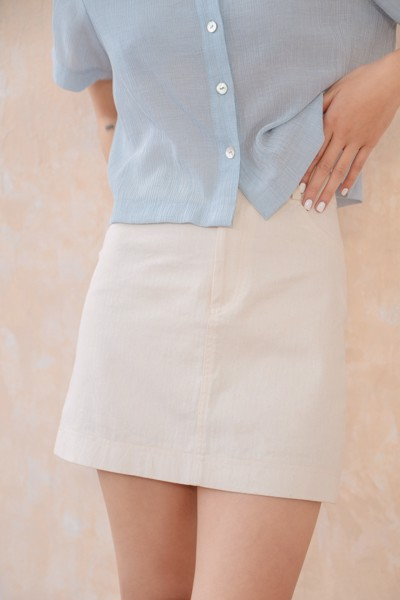 Ivory Khaki Mini Skirt