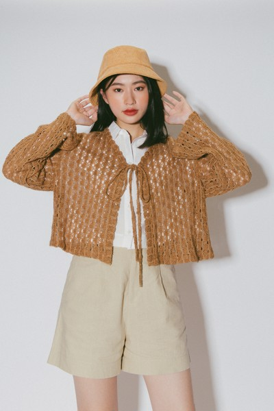 Brown Crochet Cardigan