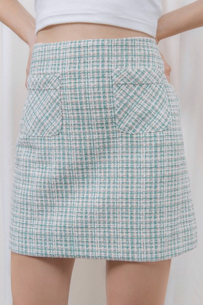 Green Tweed Mini Skirt