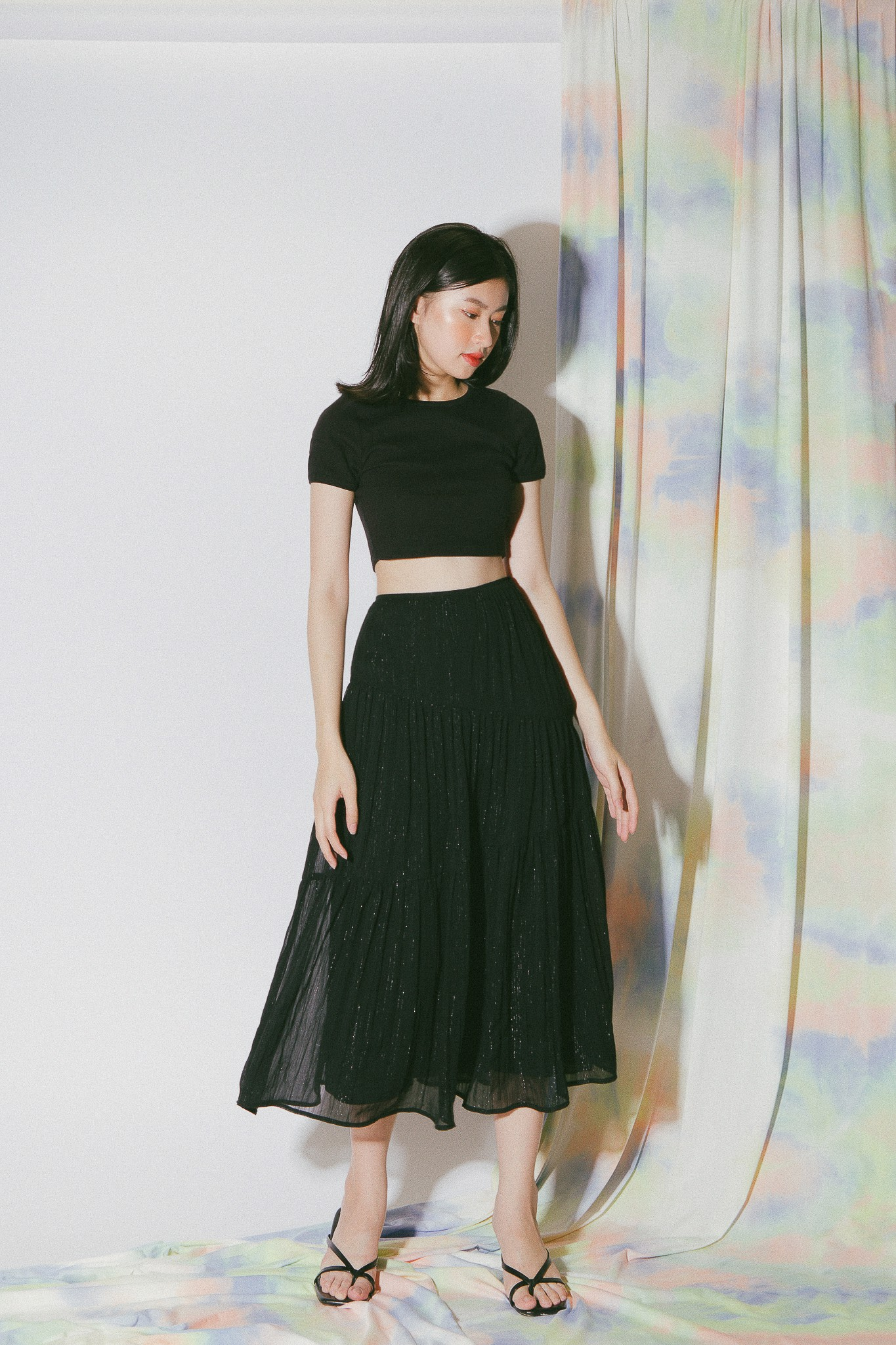Black Ruffle Midi Skirt