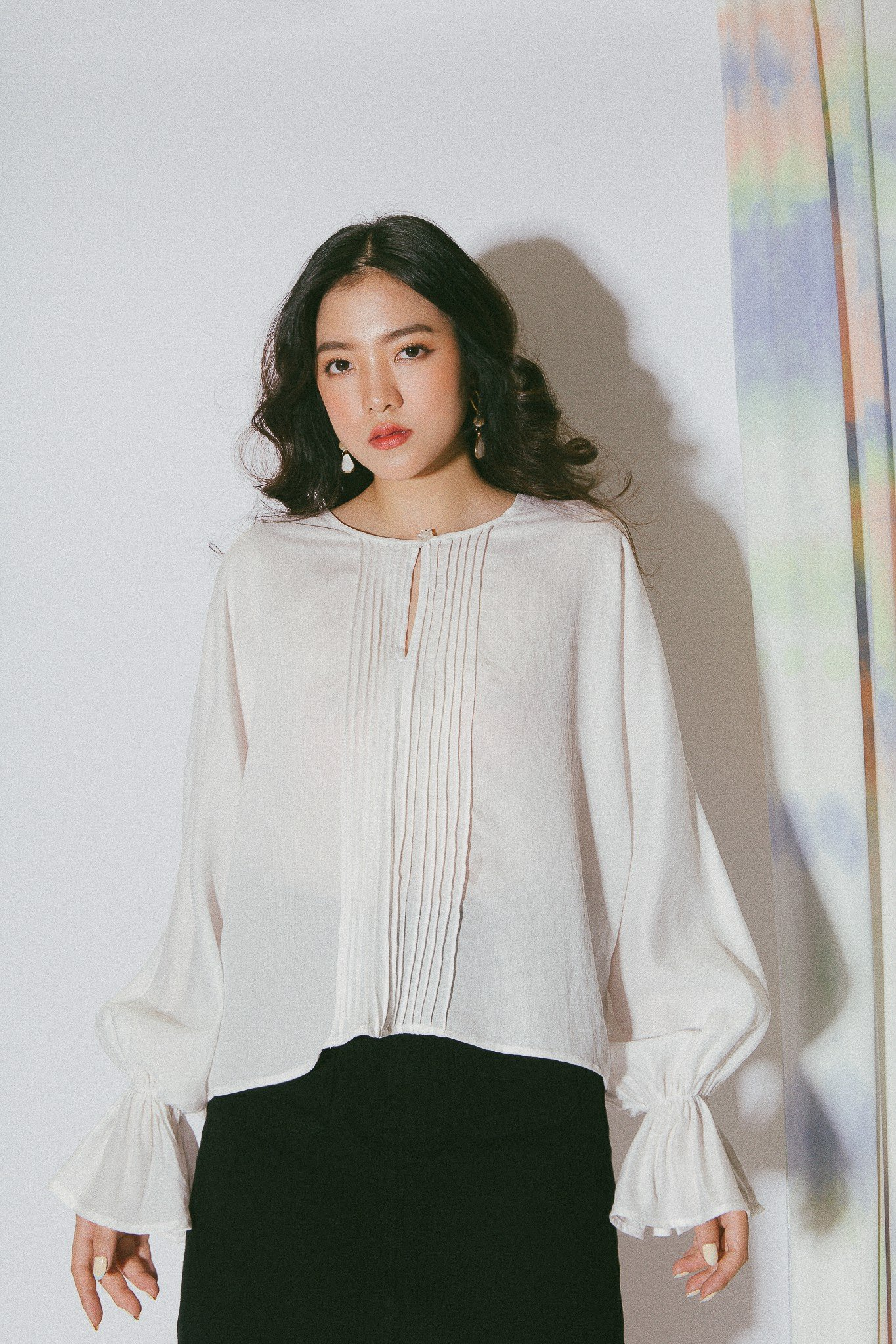 White Pleated Long Sleeves Top