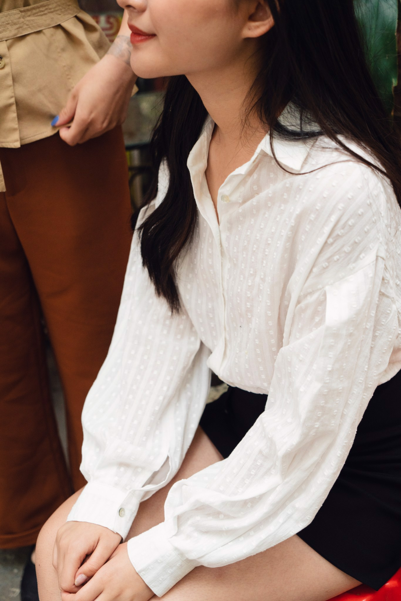 White Blouse with Puffed Sleeves
