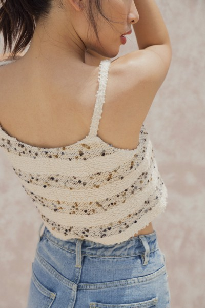 Cream Knitted Camisole with Buttons