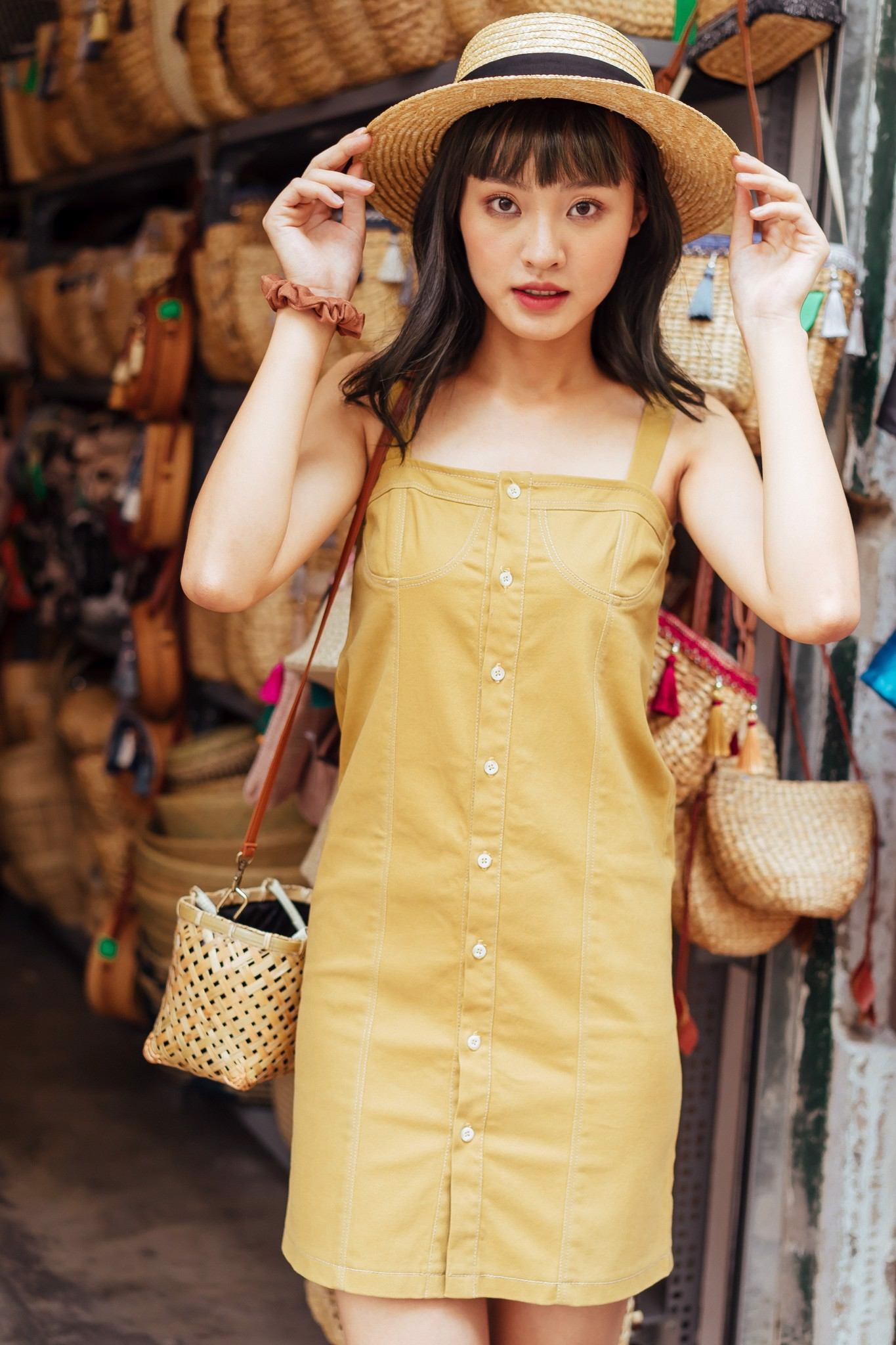 Mustard dress with shell buttons