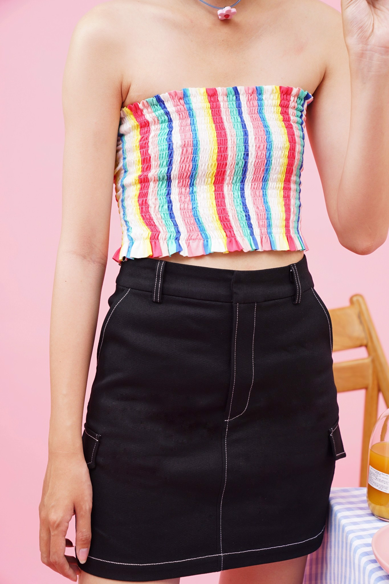 Multicolored Smocked Tube Top