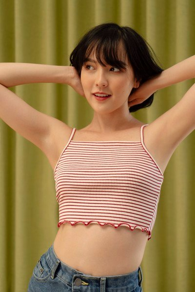 Striped Cropped Camisole - Red