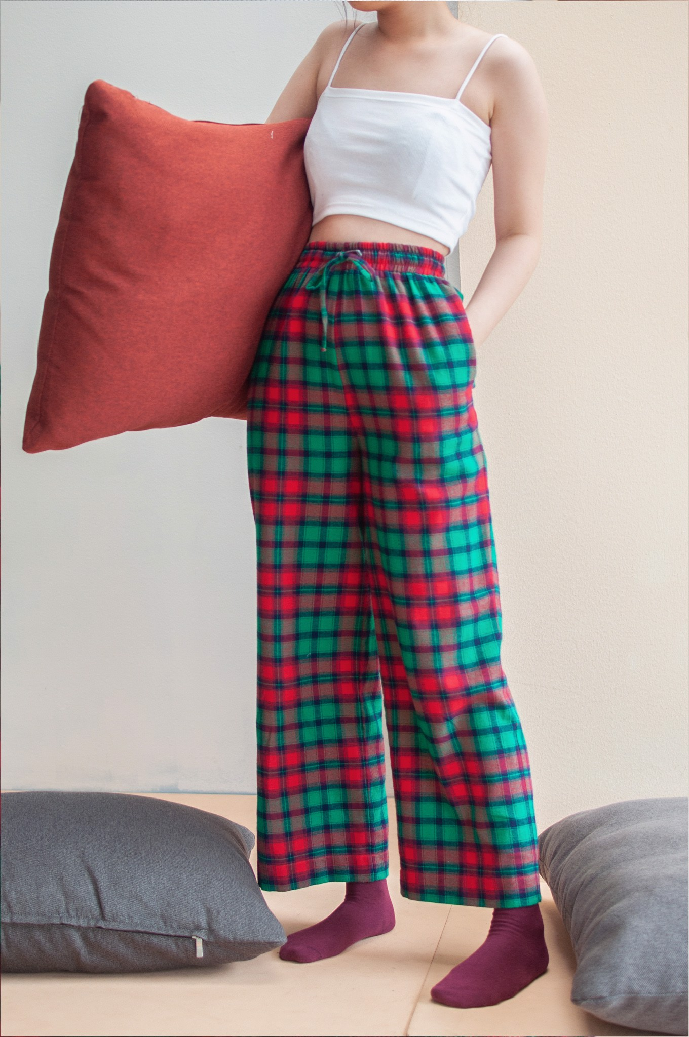 Checked Trousers - Green