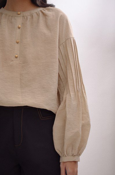 Pleated Blouse Beige