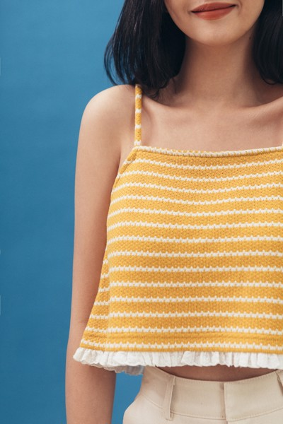 Striped Ruffle Hem Camisole - Yellow