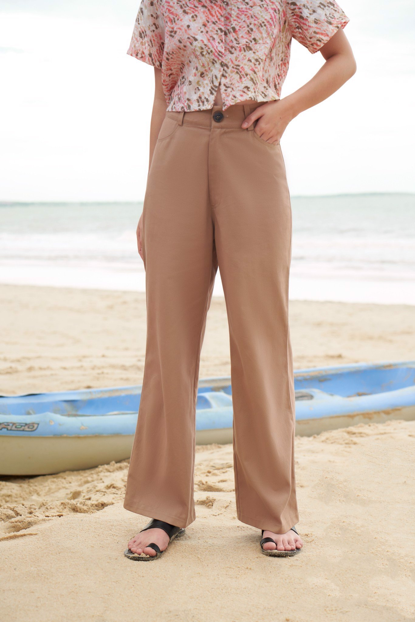 Light Brown Wide Leg Trousers