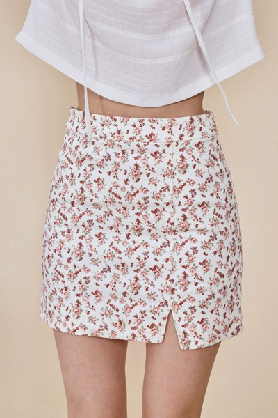 Floral Khaki Mini Skirt
