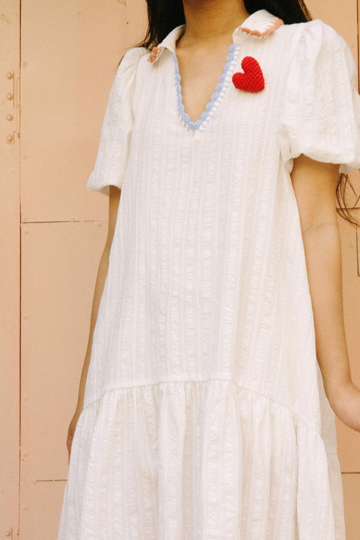 White Highlow Dress With Handmade Crochet Details
