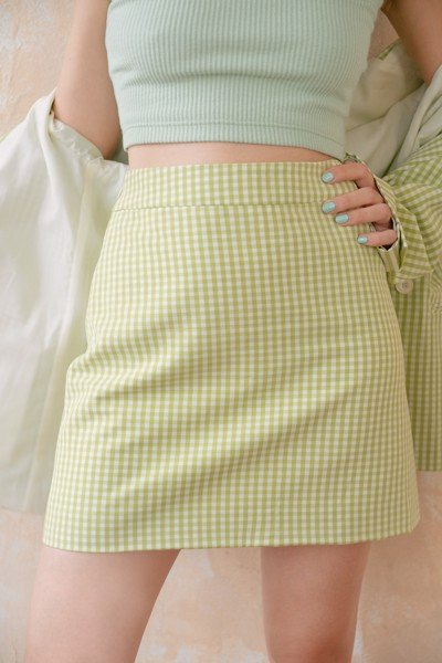 Gingham Mini  Skirt - Green