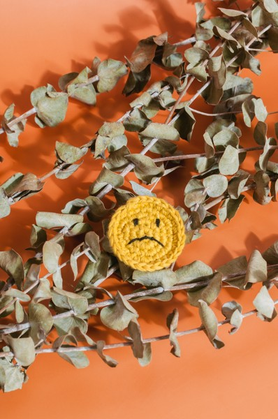 Crochet Sad Pin - Yellow
