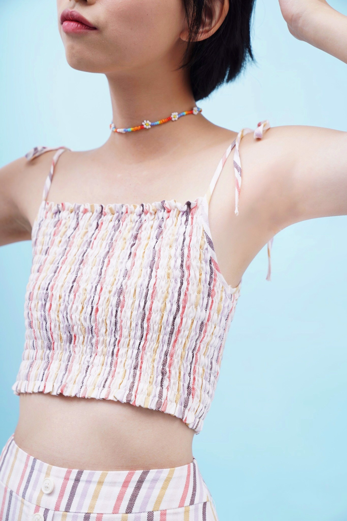 Multicolored Smocked Crop Top