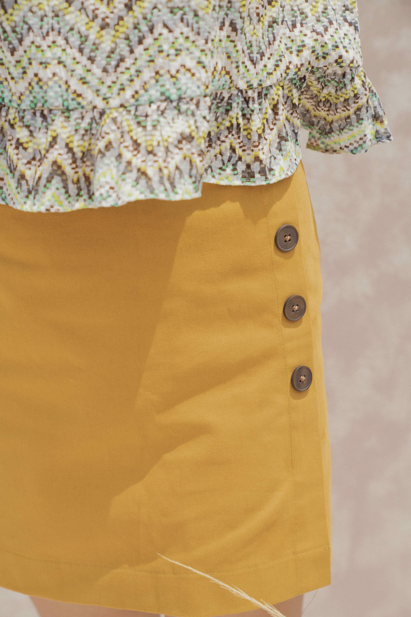 Yellow Mini Skirt with Buttons