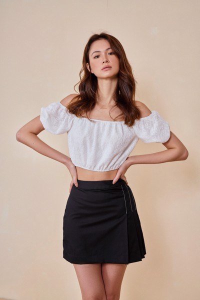 Contrast Stitch Mini Skirt