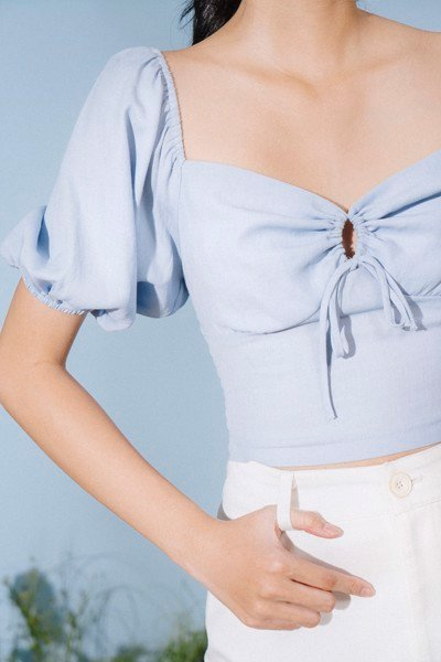 Baby Blue Puff Sleeve Top