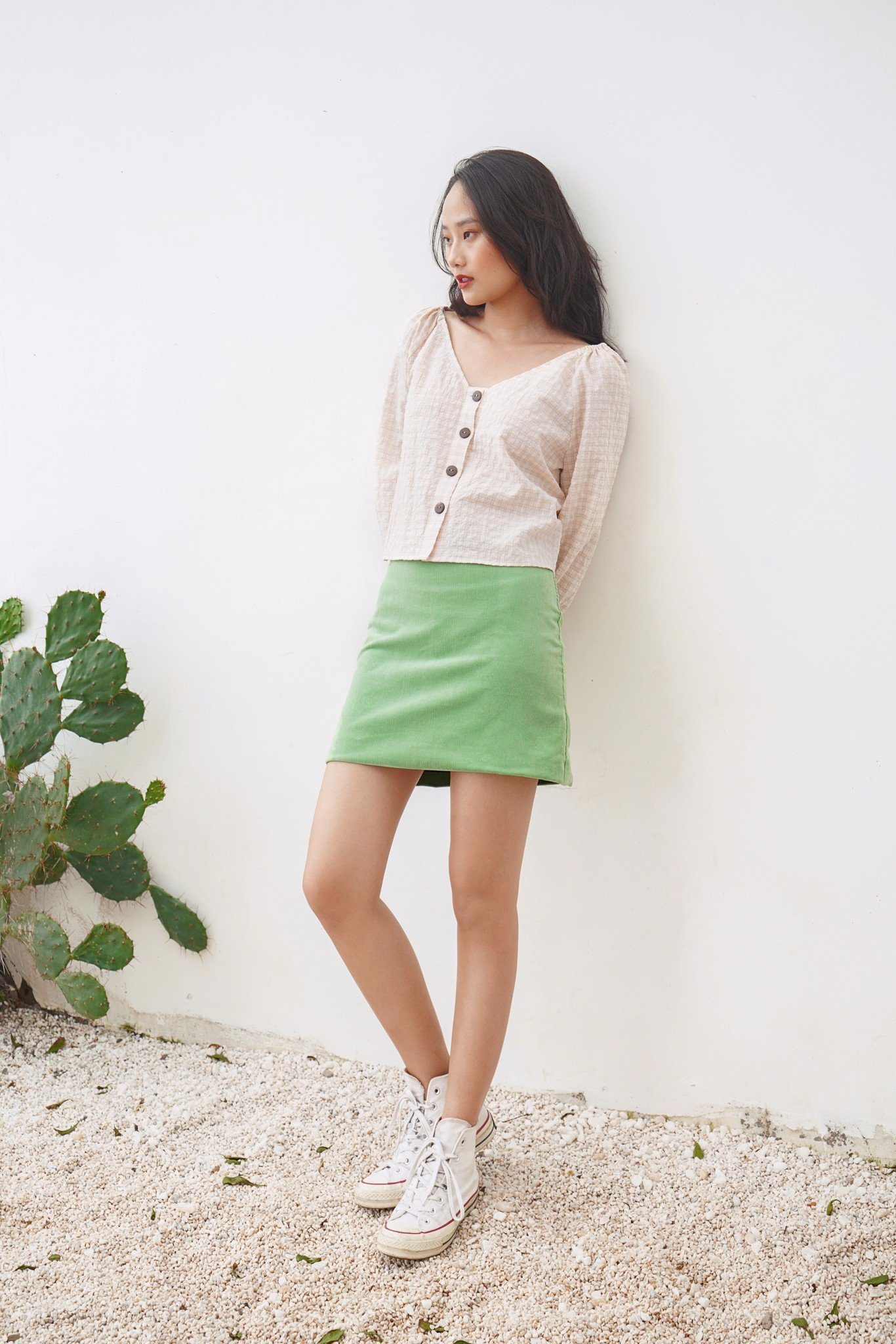 Green Corduroy Mini Skirt