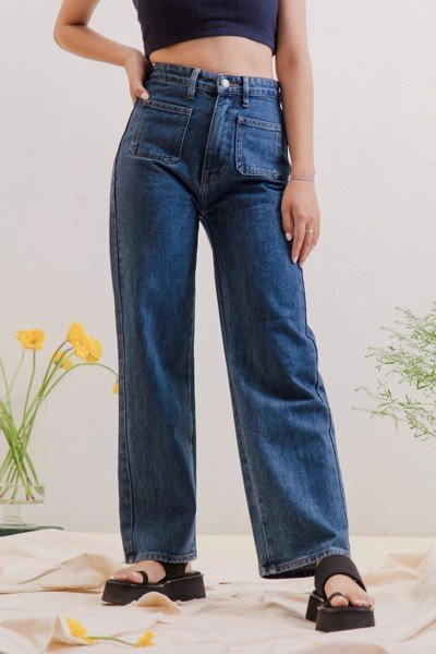 Navy Straight Leg Jeans With Pockets