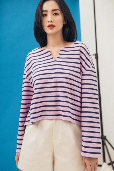 Striped Long Sleeve Top - Purple