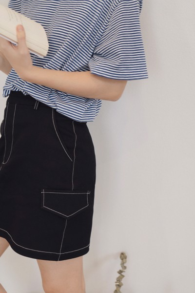Black Khaki Mini Skirt with Stitching