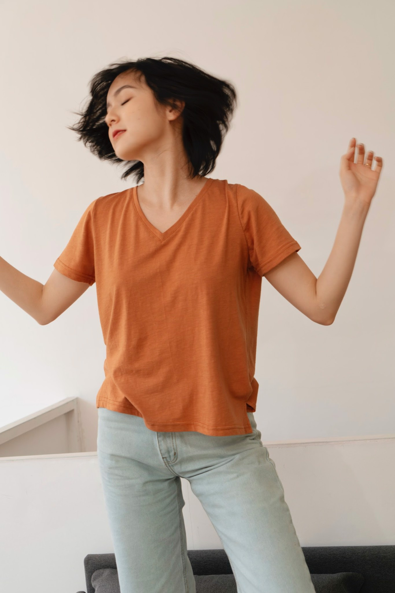 Orange V - Neck T - Shirt