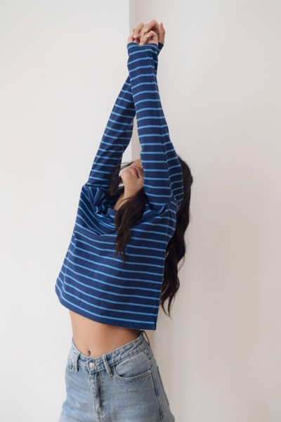 Striped Long Sleeve T-shirt - Blue