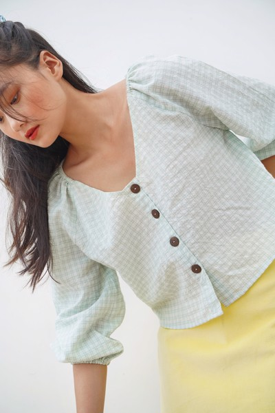 Light Green Puff Sleeve Blouse