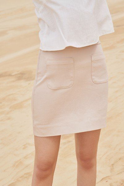 Beige Mini Skirt
