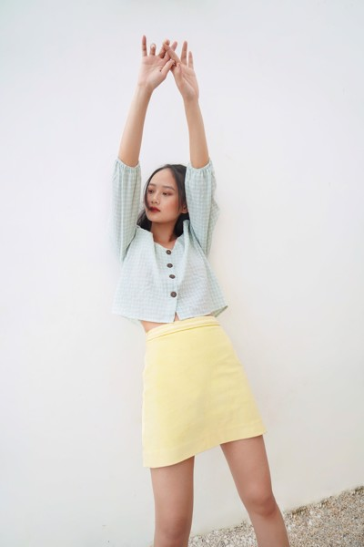 Yellow Corduroy Mini Skirt